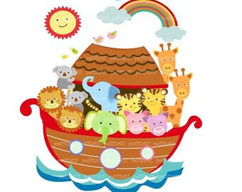 on sale noah ark digital clipart noah ark scene clipart noahs ark 4 brownanimals clipart instant download