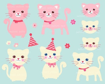 ON SALE Cats Clip Art - Cat Clip Art, kitten clip art, instant download, personnel and commercial use