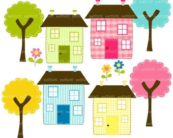 ON SALE House clip art - clipart, trees clip art ,Instant download Digital clip art, Houses and Trees