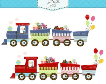 ON SALE train Digital clipart - Choo Choo train, children train clip art, instant download clip art