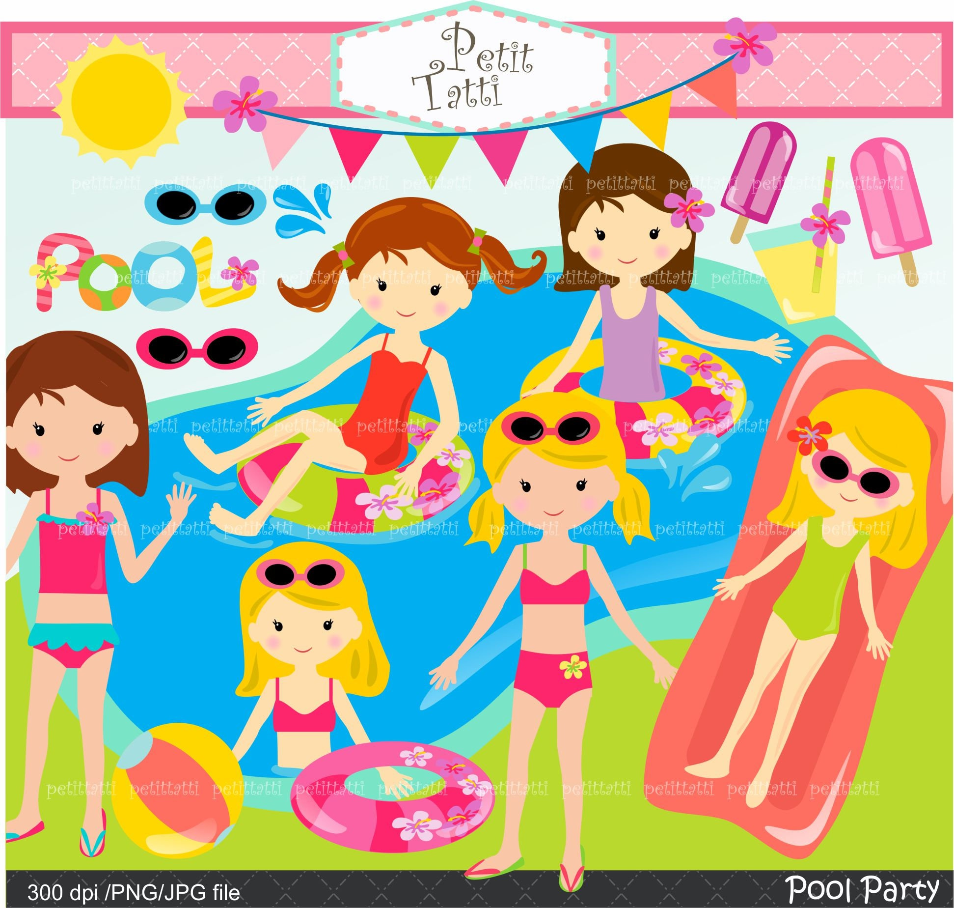 AUF Verkauf Pool Party Clipart / Pool-Party-ClipArt Mädchen | Etsy