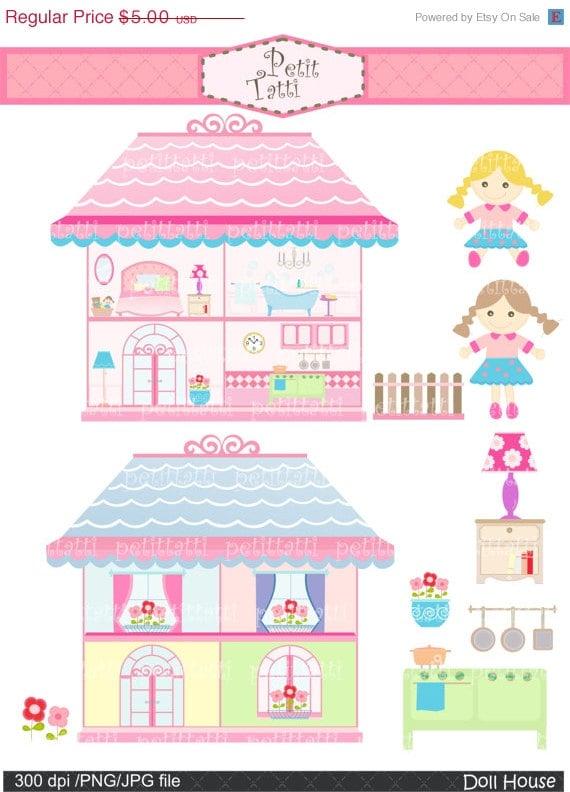 On Sale Doll House Clip Art Clipart Digital Clipart Doll Etsy