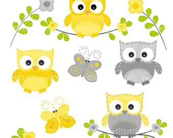 ON SALE owls clip art, yellow and grey owls clip art clipart, INSTANT Download Digital clip art,Owls and Butterfly, butterfly clip art
