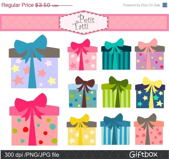 on sale gift box clip art digital clip art gift box 2 clip etsy