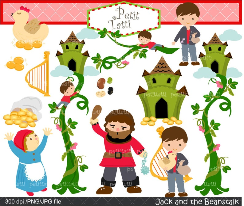 photograph regarding Jack and the Beanstalk Printable Story identified as Upon SALE Jack and beanstalk Electronic clipart. -youngsters tale clipart, fairytail clipart, huge clipart, Jack and Large clipart, printable