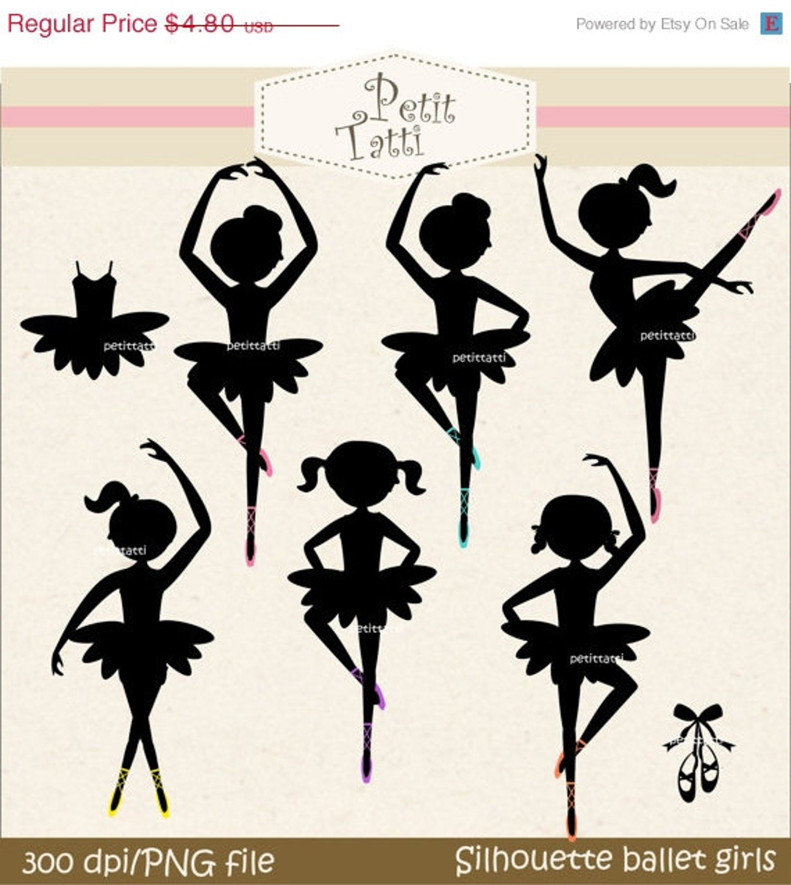 on sale silhouette ballet girls with colour shoes clip art - ballet clip art, digital clip art for all use, instant download