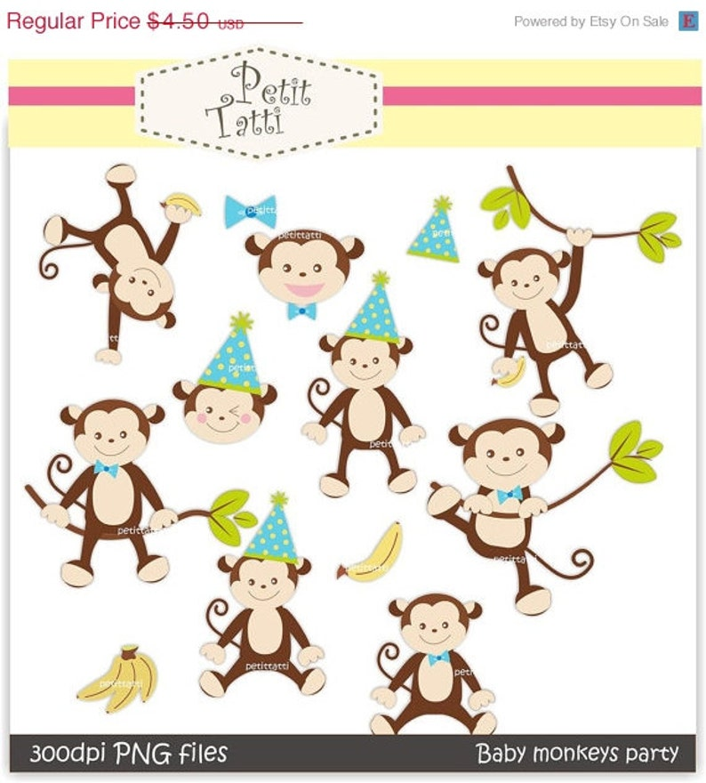 ON SALE monkey clip art - boy monkeys clip art - Digital clip art, monkeys  boy, baby monkey party boys, instant download, cute monkey clip a