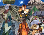 Tent City. Haitian Art. Women. Goddess. 11 inches x 14 inches Collage Print