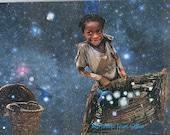 Star Catcher African American Art-Child Collage 10 x 8 Fine Art Print