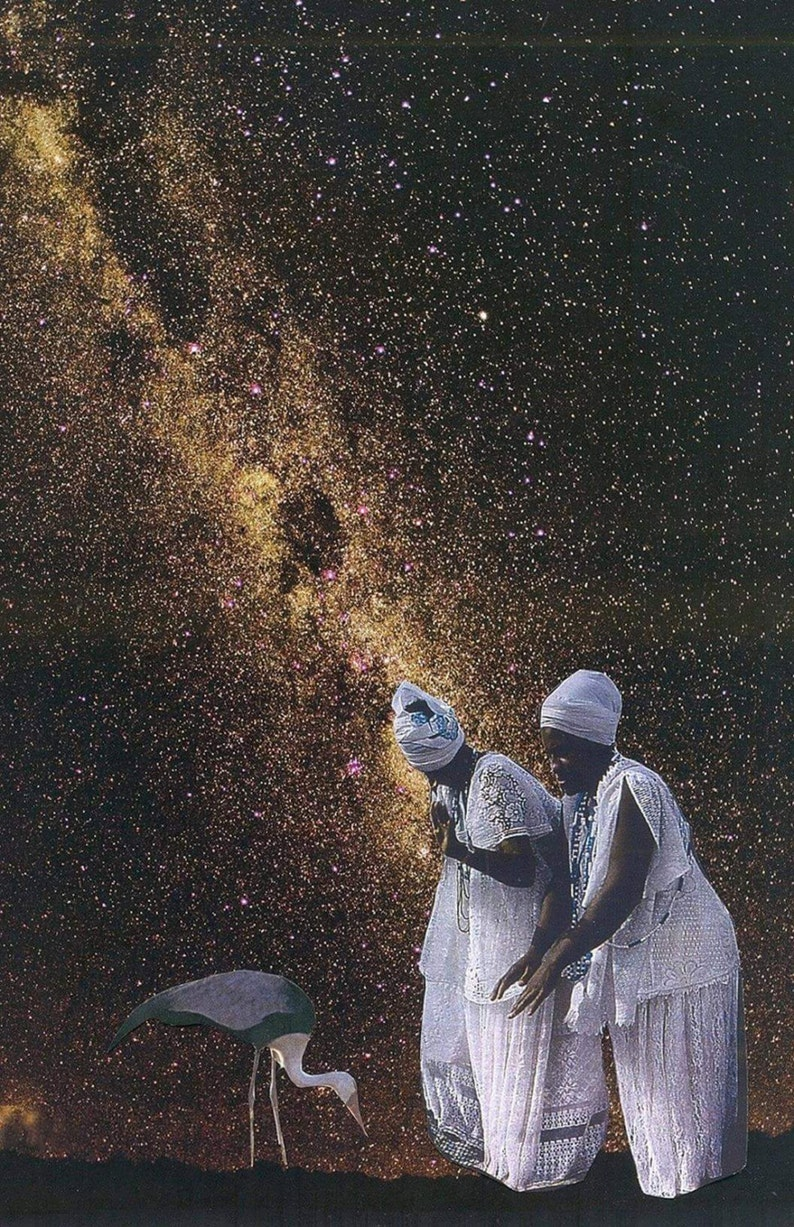 Taming Cosmos African American Art 11x14 Print Collage Print image 0