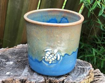 Ceramic Crock   Kitchen Utensil   Succulent Holder    Utensil Holder   Stoneware   Sea Turtle   Ocean Inspired   Blue and Brown