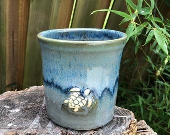 Ceramic Crock   Kitchen Utensil   Succulent Holder    Utensil Holder   Stoneware   Sea Turtle   Ocean Inspired   Blue and Gray