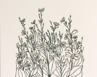 Daisies - Print from original papercut A4
