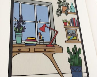 Home Office - Print from original papercut art