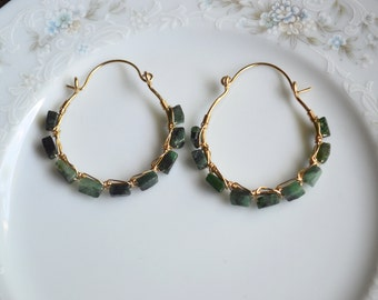Emerald and gold wire wrapped hoop earrings, emerald earrings, May birthstone, emerald jewelry