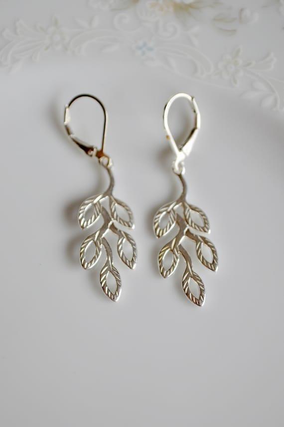 Silver earrings Leaf drops