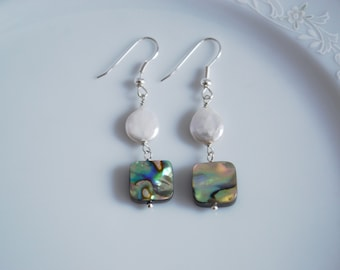 Abalone and white pearl drop earrings, beach weddin, abalone earrings, abalone jewelry, paua shell jewellry, pearl earrings