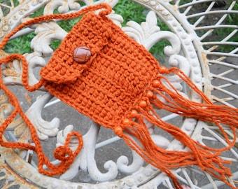 Hippie Bag Stash Pouch - Pumpkin - orange wood beads - fringe - tassels