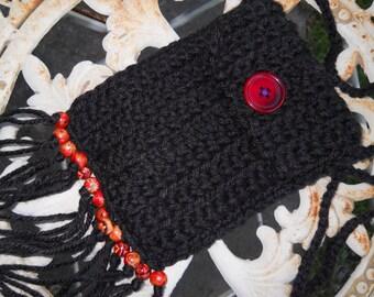 Hippie Bag Stash Pouch - Black - Indian Red wood beads - fringe - tassels