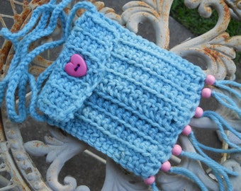 Hippie Bag Stash Pouch - Baby Blue - pink wood beads - fringe - tassels