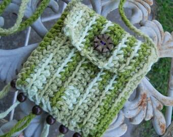Hippie Bag Stash Pouch - Earthy Green - wood beads - fringe - tassels