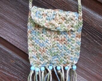 Cross Over Hippie Bag Stash Pouch - Ocean Tide - blue wood beads - fringe - tassels