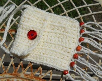 Hippie Bag Stash Pouch - Vanilla - wood beads - fringe - tassels