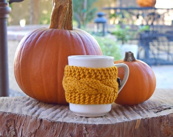 Yellow cup cozy cable knit mug cosy mustard horn button knit coffee cozy gift for friend gift for her gift under 10 reusable handmade gift