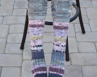 4413059247 Below the knee socks variegated colors womens socks hand knit leg warmers  handmade long socks winter socks knee high socks gift for her