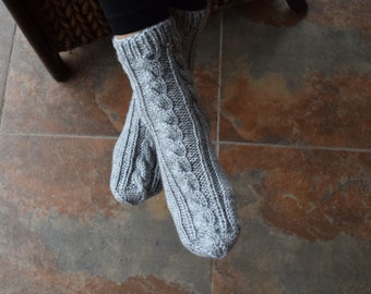 0c80440352a Hand knitted socks gray bed socks slipper socks womens socks gift for her  cable knit hygge winter holidays gift