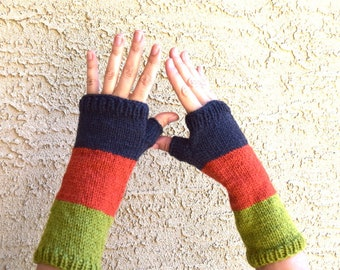 Knitted arm warmers green orange charcoal gray Earth tones womens fingerless gloves Fall Thanksgiving Christmas gift for her gift under 35