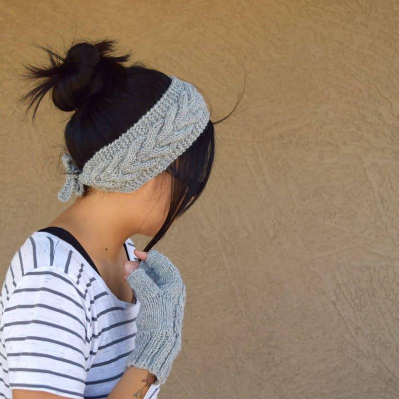 Cable knit headband ear warmers light gray wool acrylic womens image 0