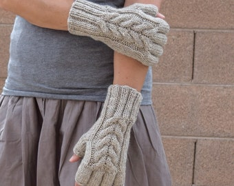 Fingerless gloves women cable knit arm warmers wool mittens texting gloves driving gloves Oatmeal Christmas gift for her winter holidays