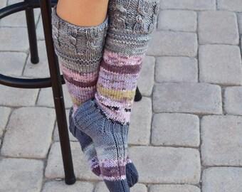 Below the knee socks variegated colors womens socks hand knit leg warmers handmade long socks winter socks knee high socks gift for her