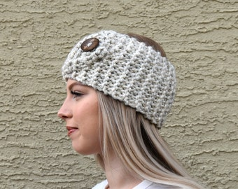 Chunky knit headband with button oatmeal ear warmers headwrap women's winter hair accessories trendy knitted wide headband turban style