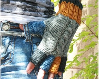 Knit fingerless gloves wool gray blue yellow charcoal knitted ladies gloves mittens gift for her spring fashion gift for her Christmas gift