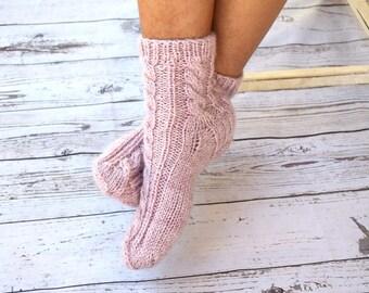 Bed socks hand knitted pale pink cable knit womens socks girls socks gift for her cozy sleep hygge warm socks Christmas stocking stuffer