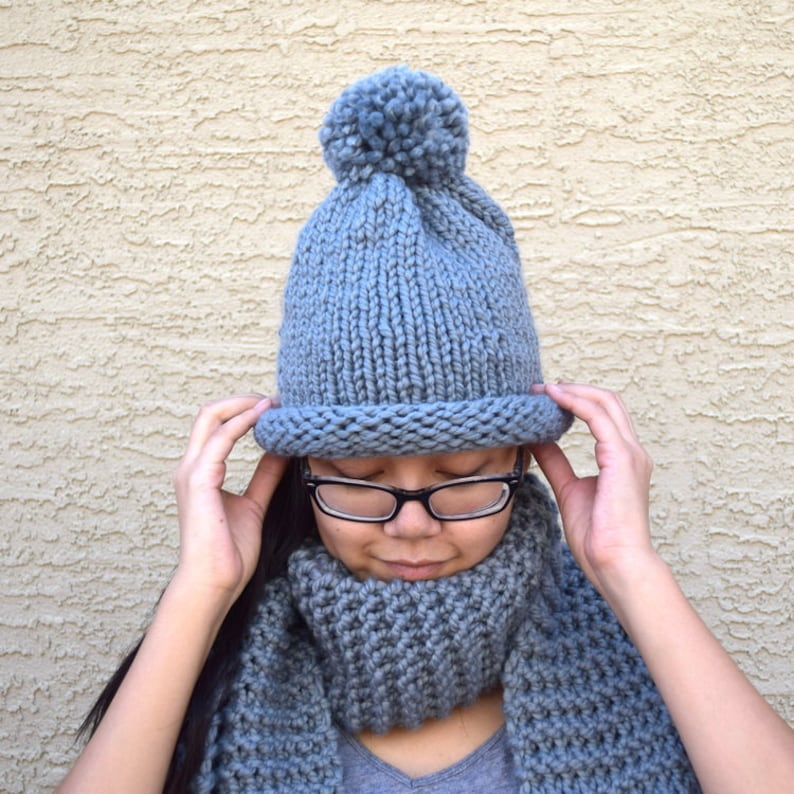 686e741b2f0 Chunky knit hat with pom pom gray slouchy hat bobble hat