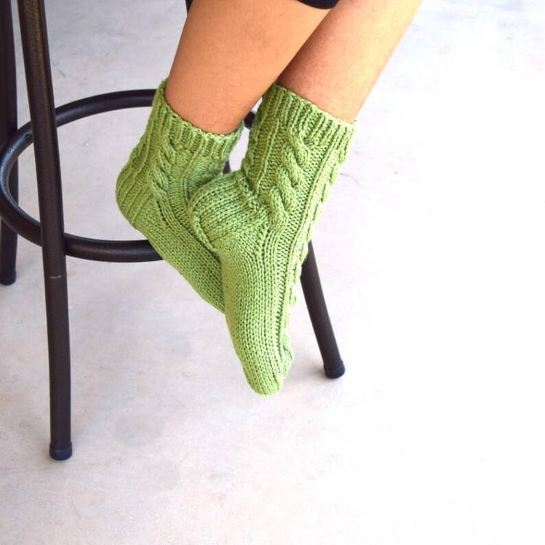 Hand knit socks cable knit socks bed socks light green womens image 0