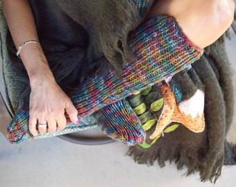 Long socks multicoloor womens socks hand knit leg warmers handmade below the knee socks winter socks knee high socks Christmas gift for her