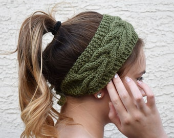 Cable knit headband moss green fashion accessory Thanksgiving Christmas womans gift  womens headband hair accessories gift under 25