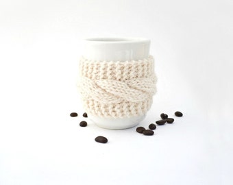 Reusable cup cozy hand knit mug cozy cream white caramel brown button cable knit gift for friend Christmas gift under 15 stocking stuffer