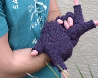 Mens fingerless gloves 100% merino wool mittens gift for him men's accessories urban style fashion gloves plum passion fruit gift for man