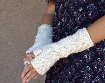 Fingerless gloves knitted arm warmers cream ivory womens gloves gift for her long gloves winter wedding bridesmaids gift Christmas gift