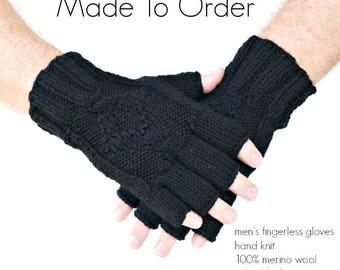 Hand knit men's fingerless gloves gray or black merino wool, MADE TO ORDER, urban style mens accessories, gift for men under 40