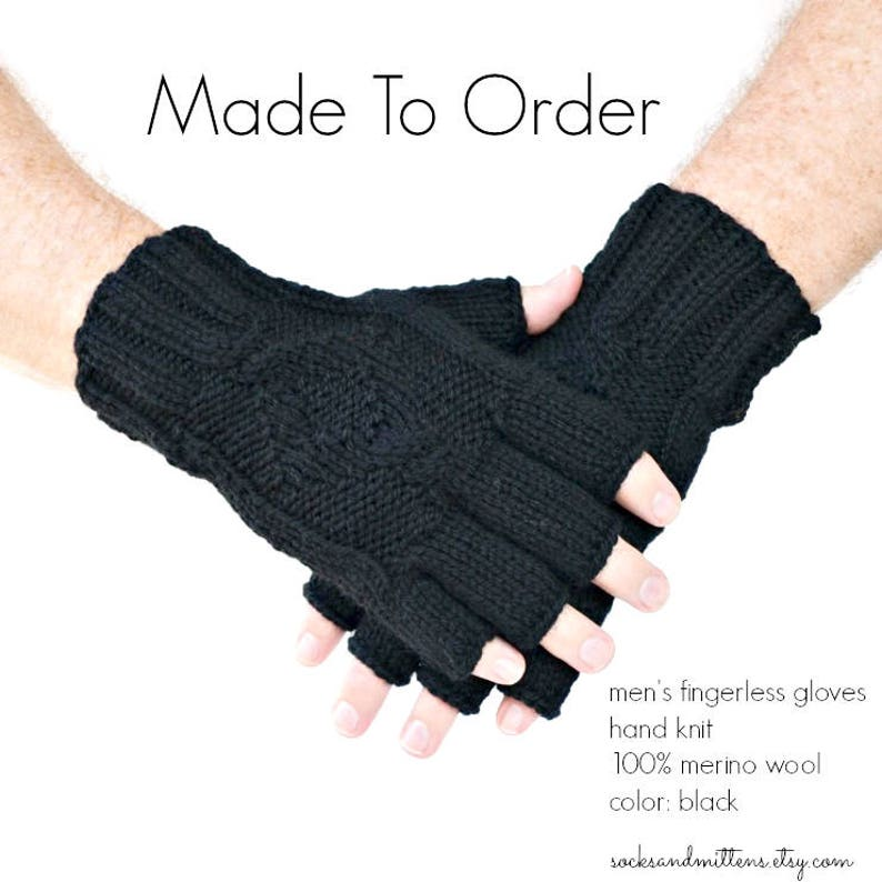 Hand knit men's fingerless gloves gray black or image 0
