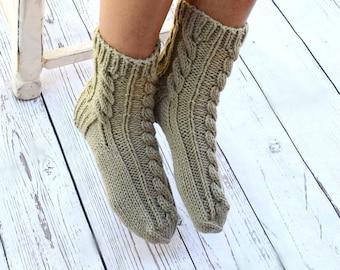 Hand knit socks cable knit socks bed socks light olive khaki neutral color cottage chic womens socks gift for her hygge socks Mothers Day