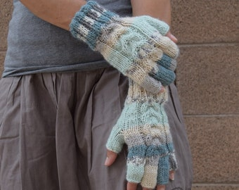 Knitted fingerless gloves soft pastels variegated colors alpaca acrylic knit mismatched gloves mint gray teal cream texting gloves for her