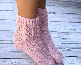 Hand knit socks cable knit slipper socks bed socks dusty pink cottage chic womens socks gift for her hygge warm socks handmade Christmas