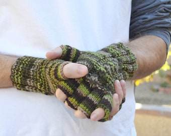 Men's knit gloves fingerless camouflage moss green 100% merino wool Christmas Fathers Day Valentines Day boyfriend gift for him hand knit